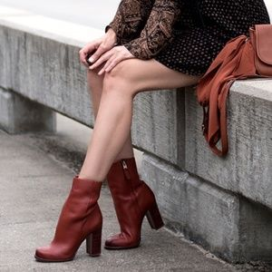 Sam Edelman 'Reyes' Leather Boot in Rust (NIB)